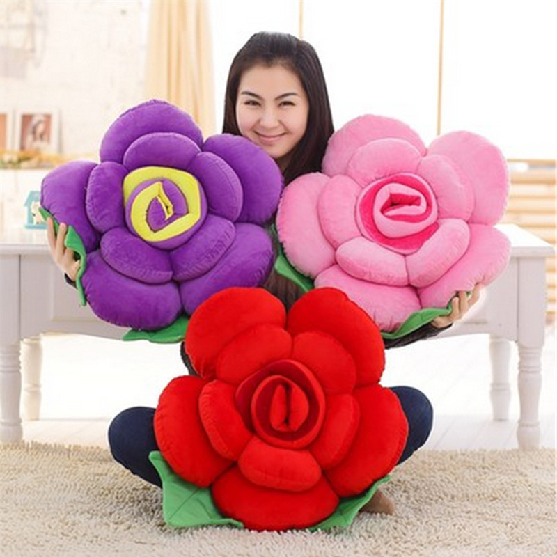 Fancytrader Big 90cm Plush Rose Flower Pillow Toy Soft Stuffed Sofa Cushion Home Decoration Mat Birthday Valentines Day Gifts 1pc 38cm creative plush chinese mahjong game toy pillow cushion mat stuffed toys funny birthday gift home shop decoration triver