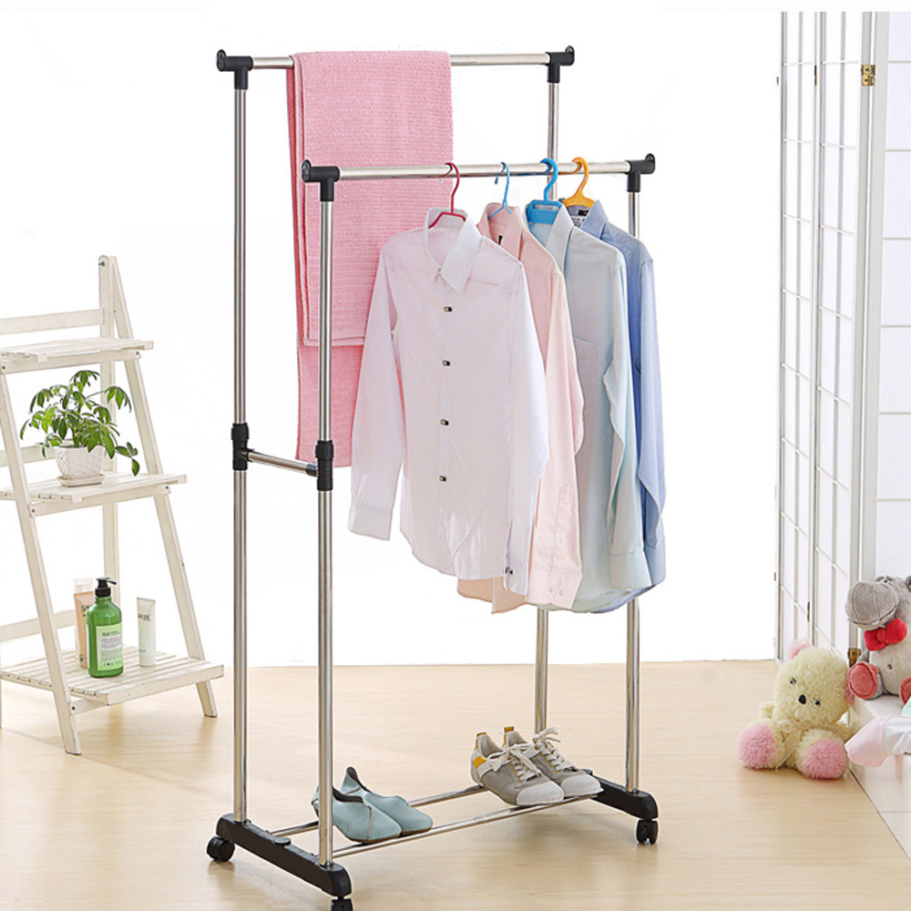 Buy Ikayaa Us Uk Fr Stock Garment Rack Steel Double Portable Dress Room Rail Clothes Hanging Display Organizer On Wheels Shoes From