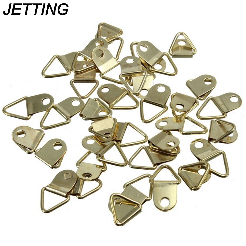 20X//Pack Golden Brass Triangle Photo Picture Frame Wall Mount Hook Hanger LP