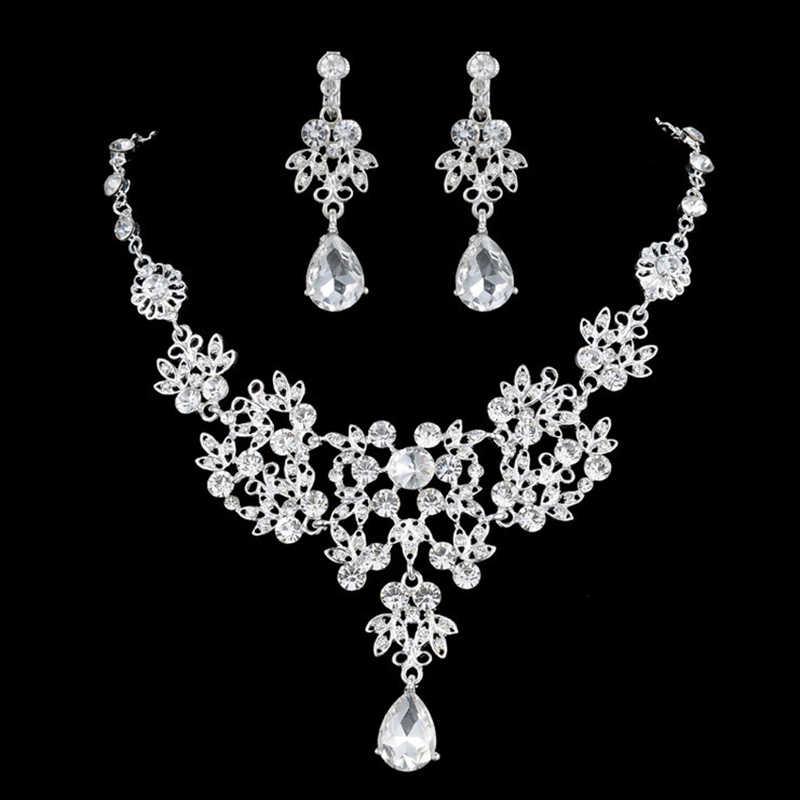 אופנה יוקרה קריסטל תכשיטי סטים Rhinetone חתונה שרשרת עגילי סט לנשים כלות אשת אחות
