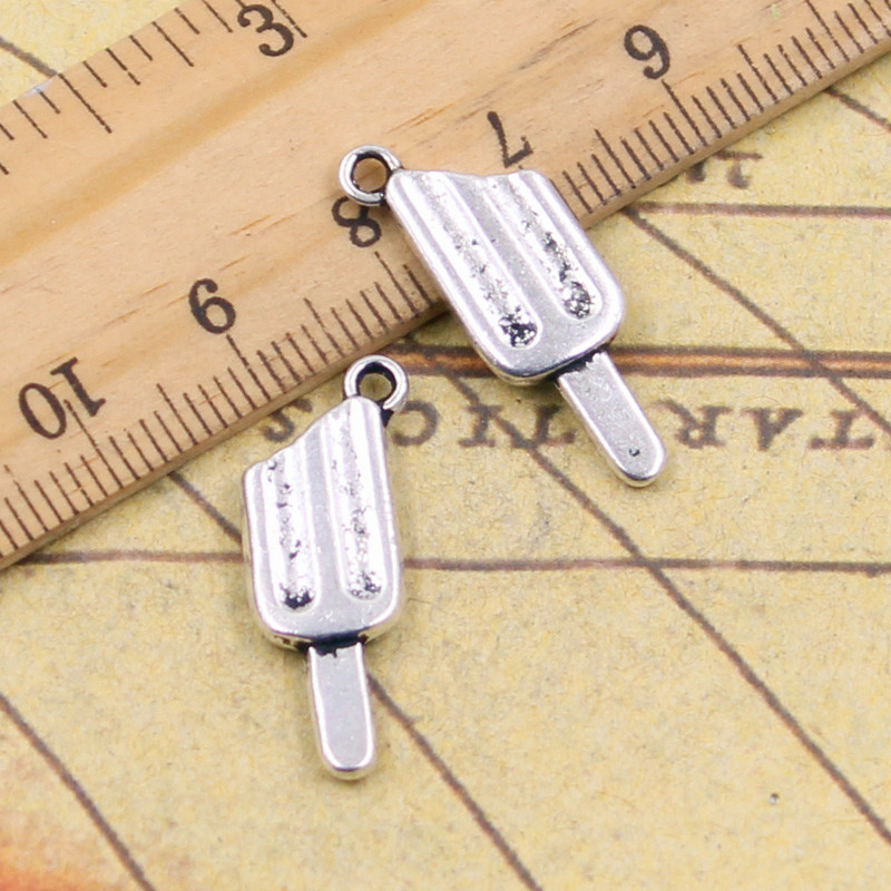 10pcs Charms ice cream popsicle 25*9mm Tibetan Silver Plated Pendants Antique Jewelry Making DIY Handmade Craft