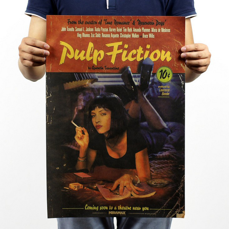 Free shipping,Pulp Fiction/Quentin Tarantino classic movie/kraft paper/bar poster/Retro Poster/decorative painting 51x35.5cm image