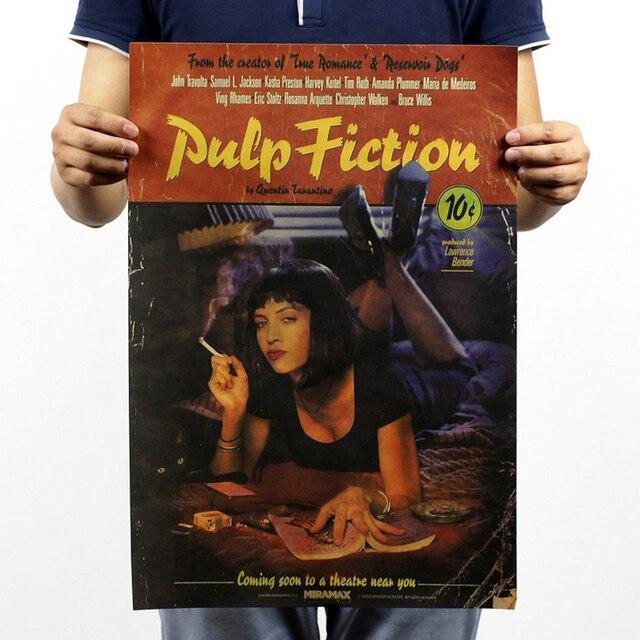 Frete grátis, Pulp Fiction / Quentin Tarantino clássico filme / papel kraft / bar Poster / Retro Poster / pintura decorativa 51 x 35.5 cm
