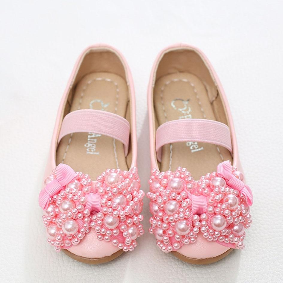 Kitiin Beading Flower Girls Shoes Child Pearls Ballet Shoes Elastic