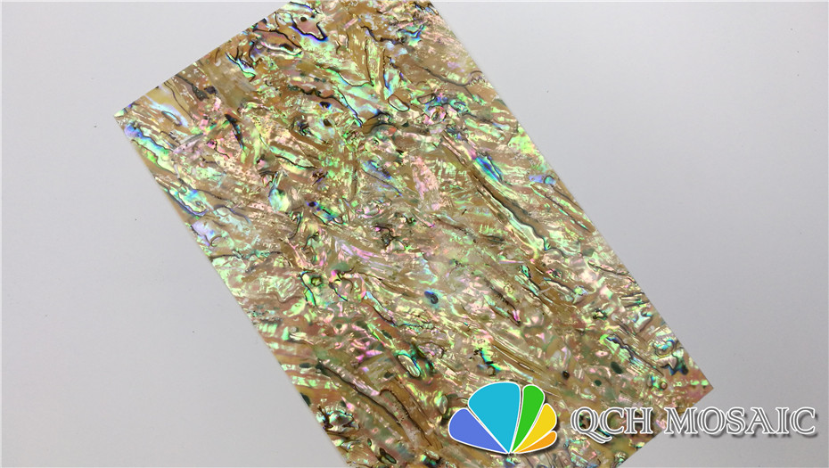Купить с кэшбэком B grade New Zealand paua abalone shell laminate sheet for musical instrument and wood inlay yellow color with natural holes