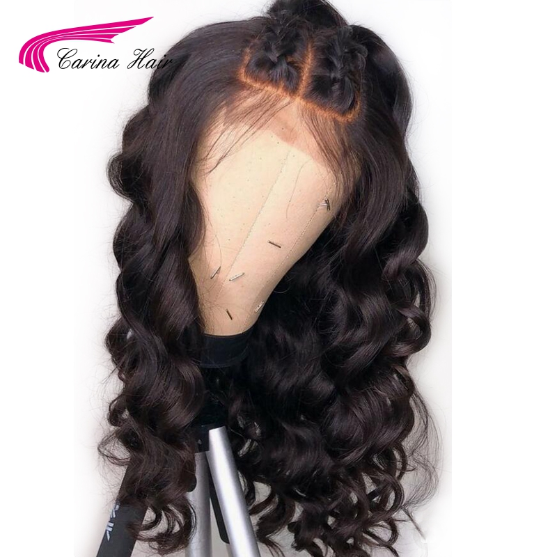 Carina Brazilian Remy Hair 360 Lace Frontal Human Wigs Natural Color Loose Wave Wigs Pre-Plucked Natural Hairline Glueless Wigs