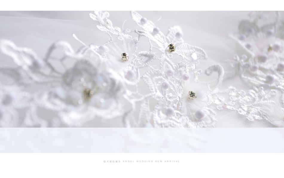 Angel Wedding Dress Marriage Bride Bridal Gown Vestido De Noiva 2017 Boat Neck Nail, lace, 2129 8
