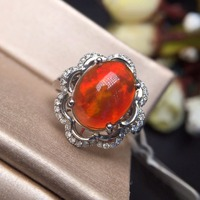 Fine Jewelry Real Pure 18 K White Gold AU750 Love 100% Natural Red Opal Gemstones 3.8ct Female Rings for Women Fine Ring