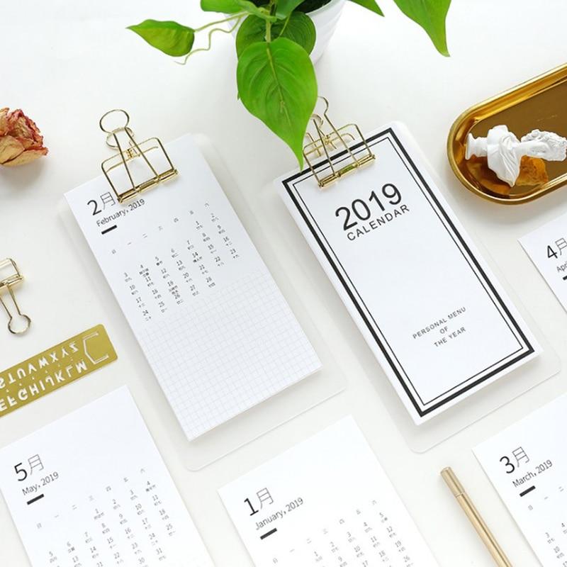Smart Creative Simple 2019 Menu Calendar Table Desktop Calendar Agenda Organizer Daily Schedule Planner 2018.07~2019.12 Fixing Prices According To Quality Of Products Calendar