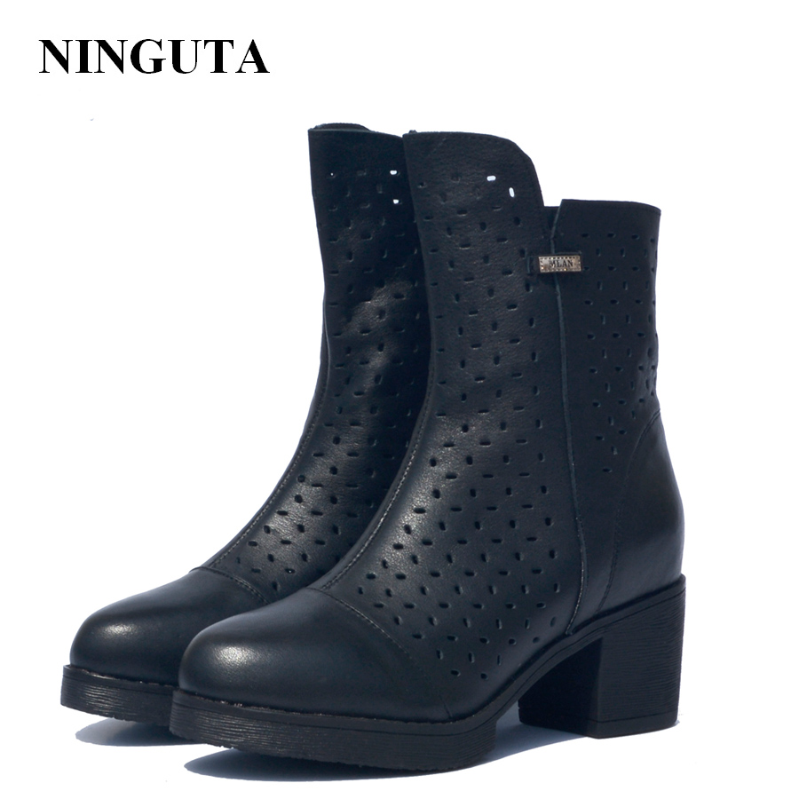 NINGUTA hollow leather autumn ankle boots for women high heels black shoes woman