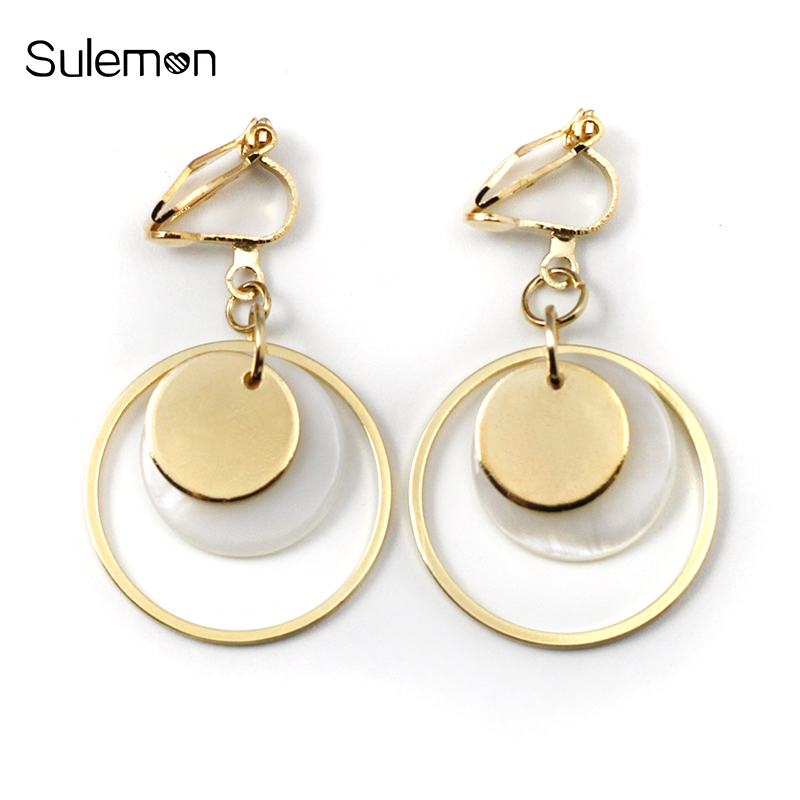 Earrings Piercing Round Geometric Women Without Metal CE153 Natural-Shell Minimalist