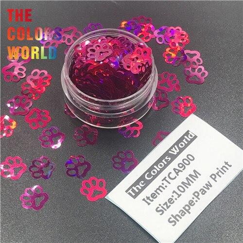 TCT-314 Лапа Печати в форме щенка голографический блестящий для ногтей Дизайн ногтей украшения боди-арт фестиваль стакан ремесло DIY аксессуары - Цвет: TCA900     50g