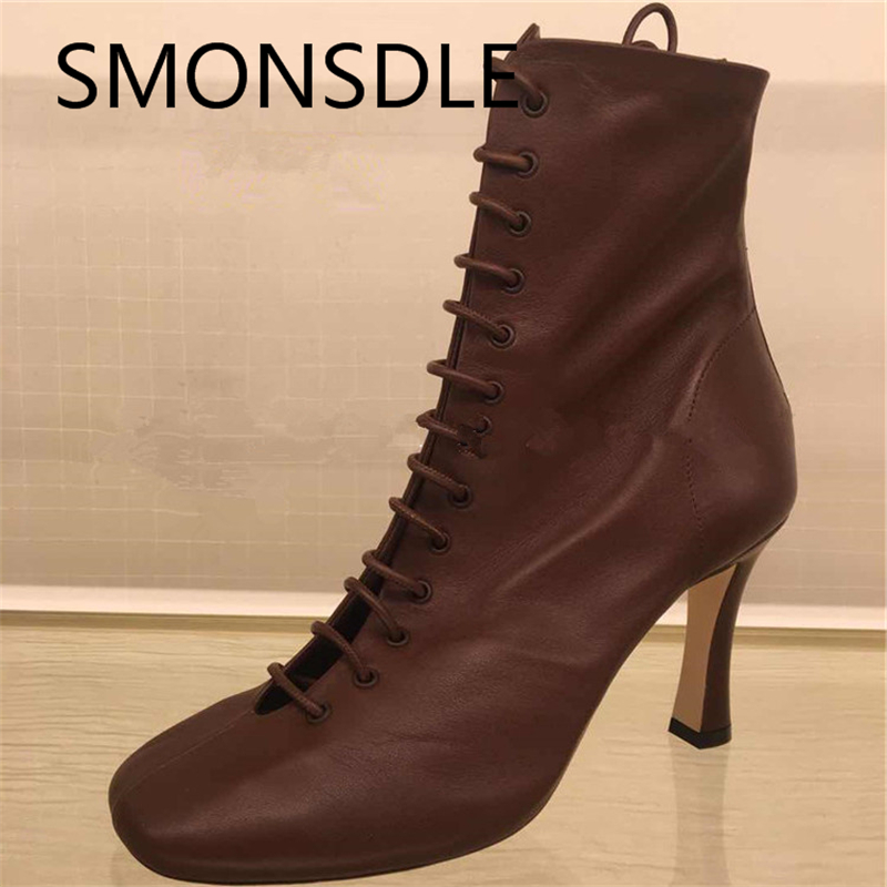 2018 New Fashion Spring Autumn Genuine Leather Women Ankle Boots Square Toe Lace Up Back Zipper Thin High Heels Women Shoes women flat polka dot square toe lace up casual shoes new arrival fashion genuine leather spring autumn shoes 20170214