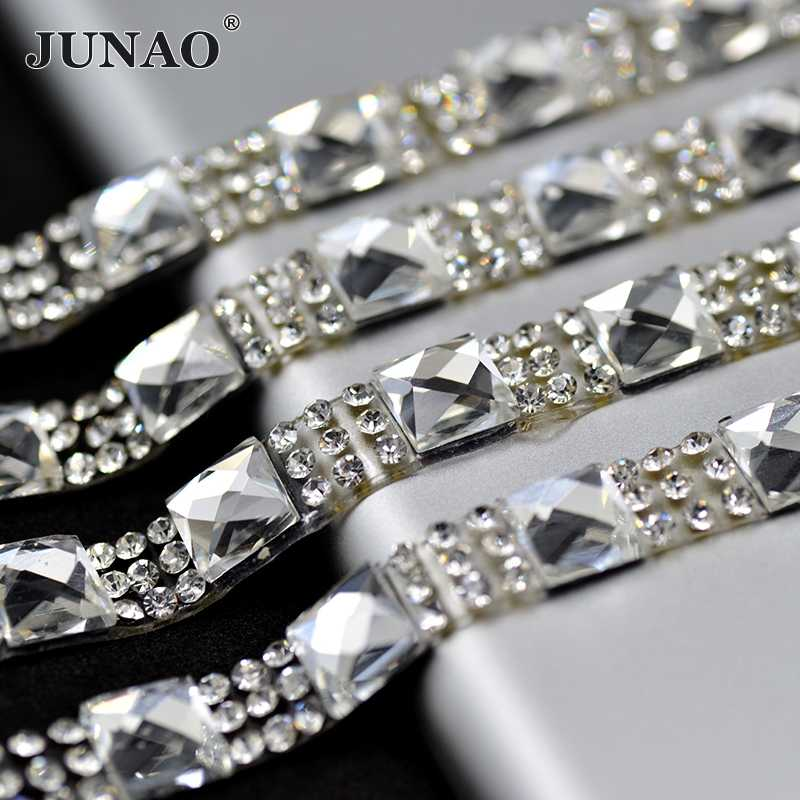 JUNAO 5 Yard 8mm Hotfix Clear Black Rhinestones Fabric Chain Glass Mesh  Trim Crystal Appliques c190fa52840e