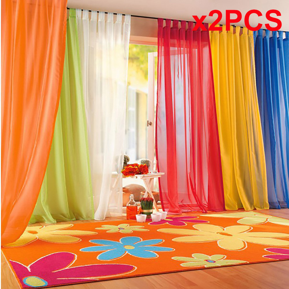 Sheer red window curtains - 2 Pcs Pure Color Tulle Door Window Curtain Drape Panel Sheer Scarf Valances Curtains For Living