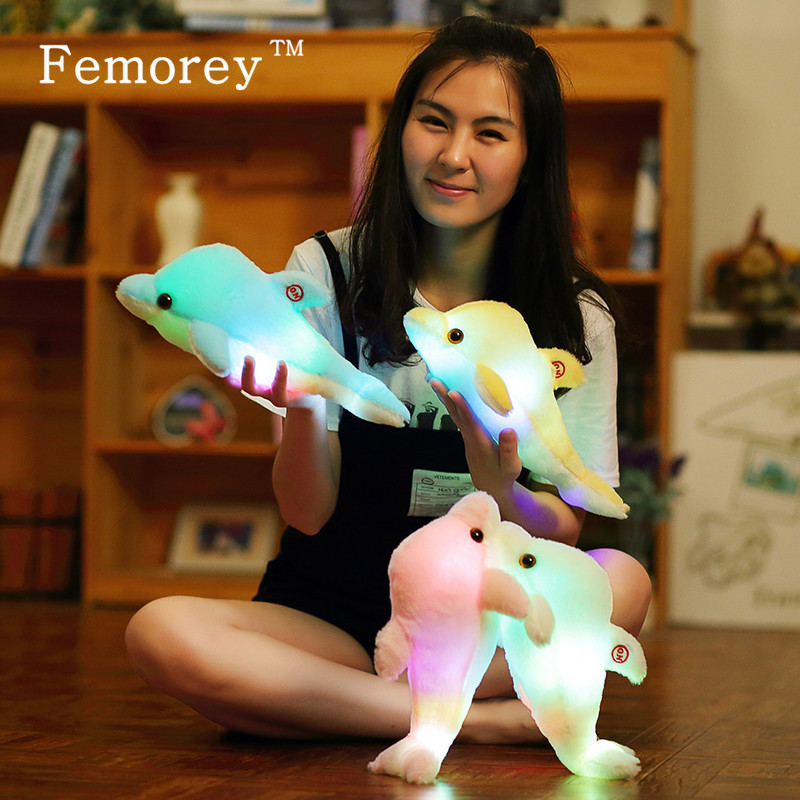32cm Kawaii Luminous Plush Dolphin Doll Toys Colorful Glowing Dolphin Plush Toys with LED Light Up Children Kids Christams Gift 35cm plush dog doll with colorful led light glowing dogs with embroidery children toys for girl kids birthday gift yyt221