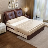 RAMA DYMASTY leather soft bed modern design bed fashion king/queen size bedroom furniture