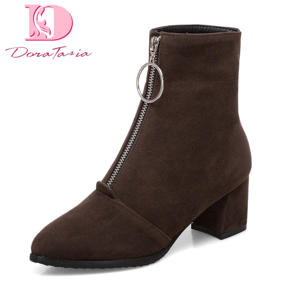 Doratasia Large Size 34-43 New Fashion Zip Up Add Fur Winter Boots Woman High Heels Boot Female Warm Shoes Woman karinluna 2018 plus size 30 50 pointed toe square heels add fur warm winter boots woman shoes woman ankle boots female