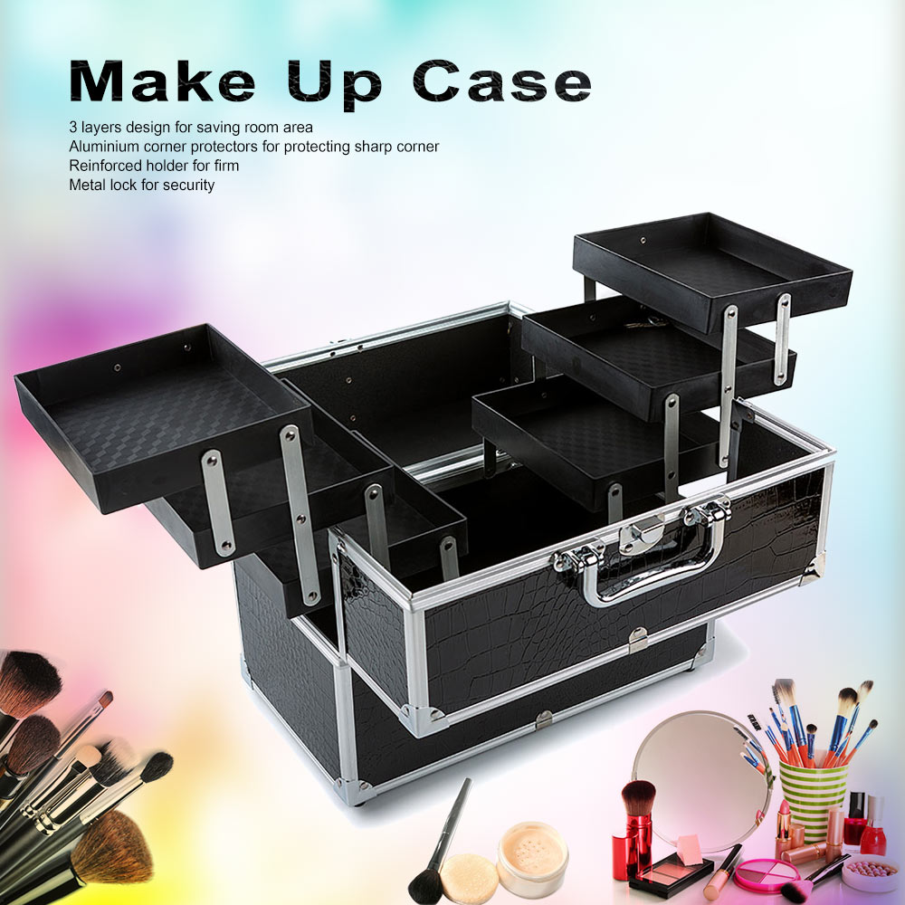 3-Layer Large Make Up Case Cosmetic Organizer Box Profession