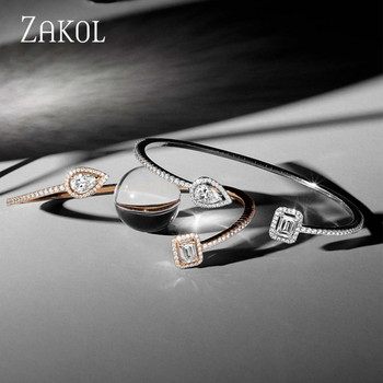ZAKOL Brand Fashion Design Jewelry Set Sparking CZ Stone Earrings Bracelet & Bangle Ring For Women 5