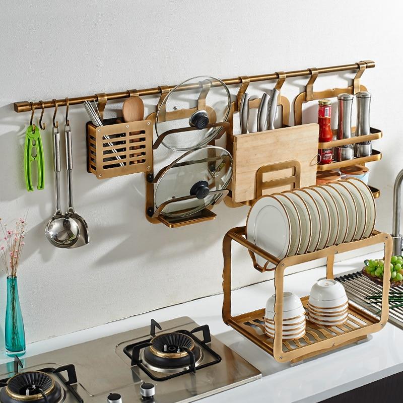 Free Punching Antique Kitchen Space Aluminum Rack Wall Hanging Knife Seasoning Pot Lid Storage Rack Bathroom AccessoriesLO827402