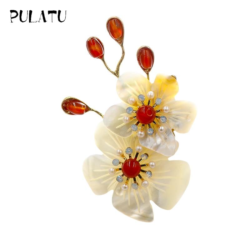 Pulatu Natural Flower Brooches Shell Inlay Handmade Nice Brooch Pins 66 5 43mm Women Brooches Fashion