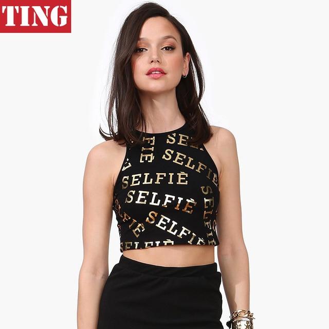 e618908aefedb Black Gold Selfie Letter Print Women Crop Top Brand Slim Sexy Novelty Top  cropped Women Girl Stylish Summer Crop tops A274
