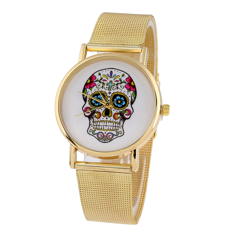 Gnova Platinum Metal Woman Watch Mexican Flowers Skull Golden Mesh Band Fashion Wristwatch Relogio para femme Quartz Clock flowers mexican sunflower motorola droid 2 skinit skin
