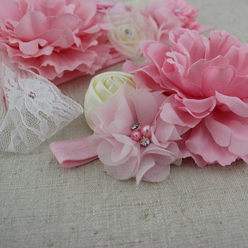 2pcs/set pink white ivory baby girl flower sash matching peony flower headband mom baby shower sash