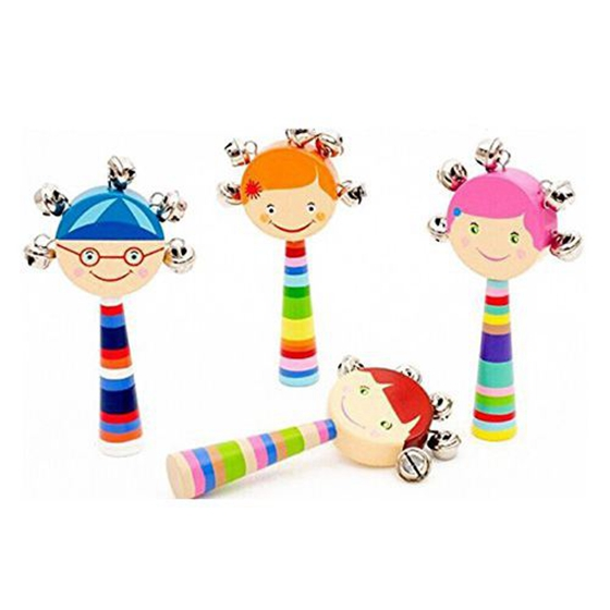 HOT SALE 1pc Baby Kids Rainbow Wooden Handle Bell Jingle Stick Shaker Rattle Toys