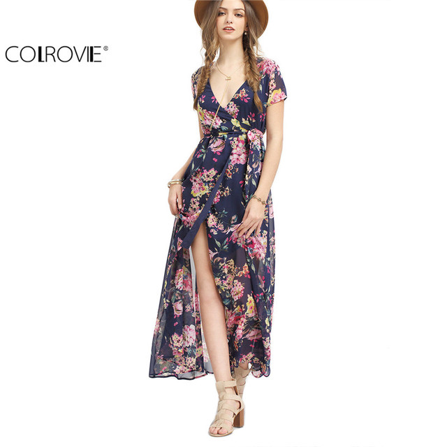COLROVIE Ladies 2017 Summer Multicolor Flower Print V Neck Split Chiffon Short Sleeve Wrap with Belt Long Maxi Dress