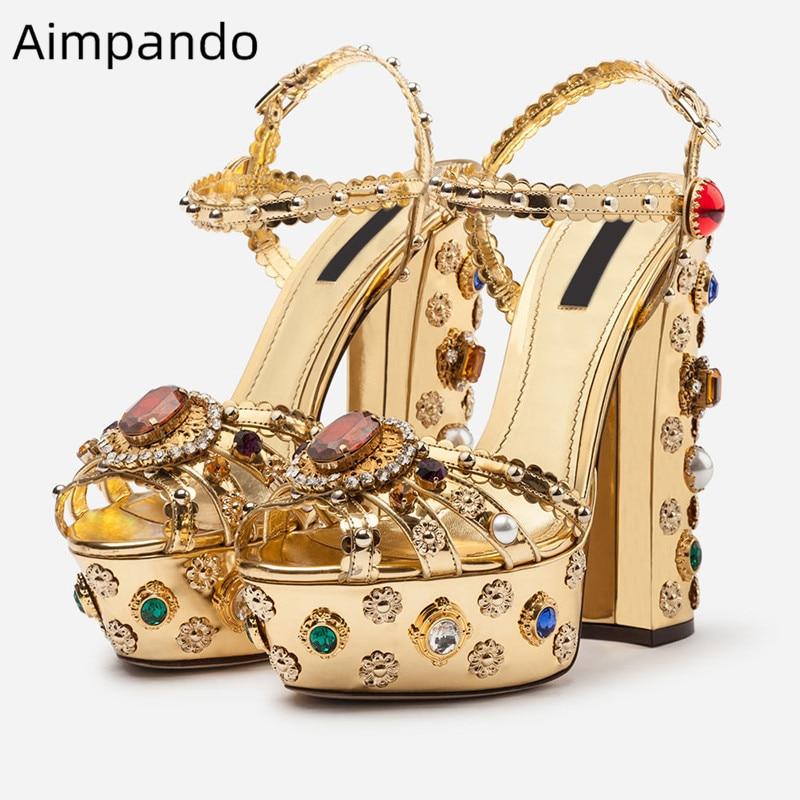 Luxury Diamond Retro Gladiator Sandals Women Super Chunky Heel High Platform Ankle Strap Rhinestone Metal Decor Wedding Shoes