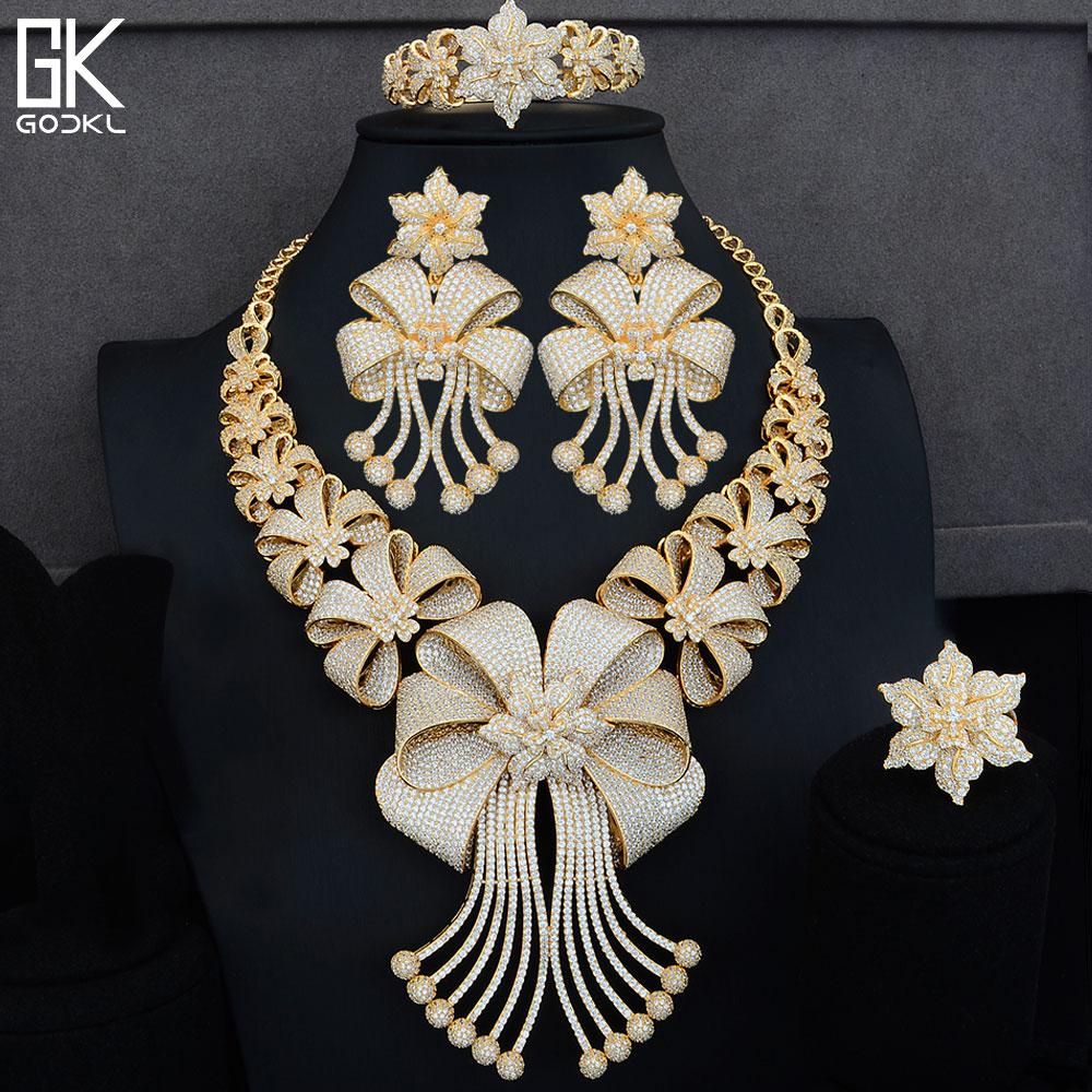 GODKI BIG Luxury 4PCS African Jewelry Sets For Women Wedding Cubic Zircon Crystal CZ Engagement Indian