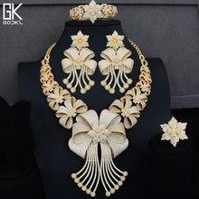 GODKI גדול יוקרה 4 יחידות אפריקאי נשים חתונה מעוקב זירקון קריסטל CZ אירוסין הודי זהב תכשיטי כלה סטים