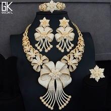 7850464e428f GODKI lujo grande 4 piezas Africana joyería conjuntos para mujeres boda Cubic  Zircon cristal CZ compromiso oro indio joyería nup.