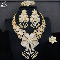 GODKI BIG Luxury 4PCS African Jewelry Sets For Women Wedding Cubic Zircon Crystal CZ Engagement Indian Gold Bridal Jewelry Sets