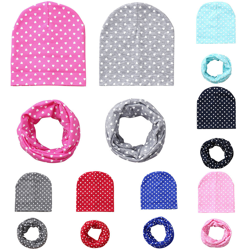 Kids Cap Hat Scarf Prints Autumn Winter Chapeu Love Outfit Collars Festival Touca