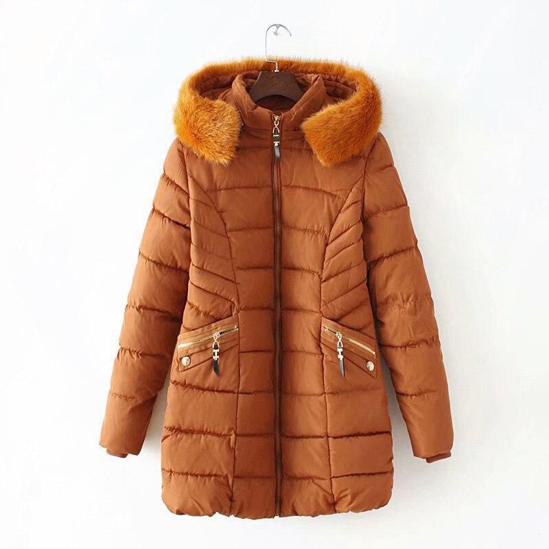 6 xl 플러스 사이즈 겨울 자켓 여성 롱 코트 가짜 모피 칼라 따뜻한 두꺼운 슬림 파커 솔리드 겉옷 kkfy2870-에서파카부터 여성 의류 의  그룹 3