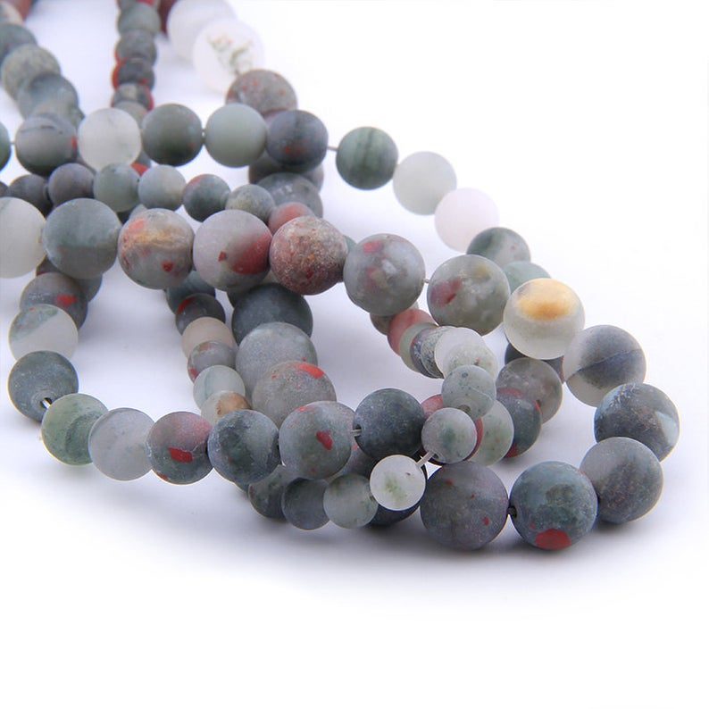 African Bloodstone Bead, Natural Gemstone Beads, Red Gray White Bloodstone Matte Beads, Round Stone Beads 4mm 6mm 8mm
