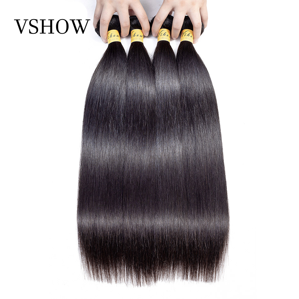 VSHOW Hair Malaysian Straight Hair Bundles Remy Hair Weave Bundles 100 Human Hair Extensions 4 Bundle
