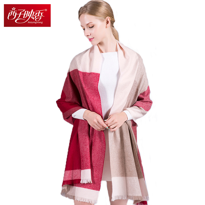 Women Winter Scarf 100% Cashemere Warm Ring Scarf Long Blanket Poncho Stoles Thicken Pure Cahmere Wraps and Scarf Warm Shawls