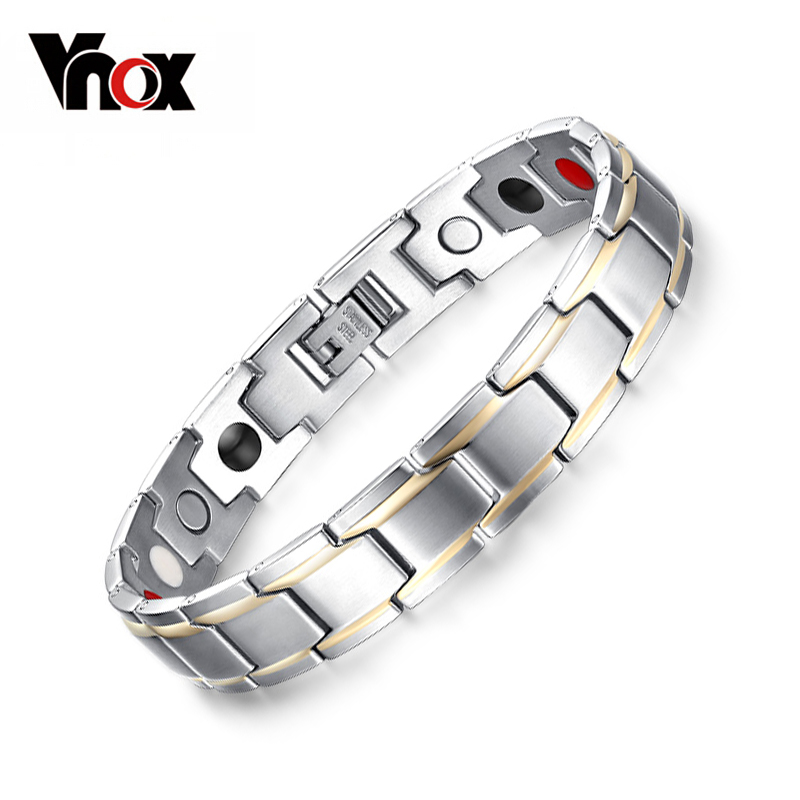 цена Vnox Trendy Magnet Bracelet Bangle for Women Men Stainless Steel Health Care Magnetic Germanium Energy Power Male Casual Jewelry