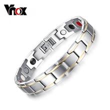 Vnox Trendy Magnet Bracelet Bangle for Men Stainless Steel Health Care Magnetic / Germanium