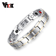 Vnox Trendy Magnet Bracelet Bangle for Women Men Stainless Steel Health Care Magnetic Germanium Energy Power Male Casual Jewelry(China)