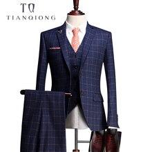Тянь Цюн на заказ свадебные смокинги мужские костюмы талиированные церемония по случаю события смокинги жаккард шерстяной ткани(пиджак+ брюки+ жилет+ рубашка