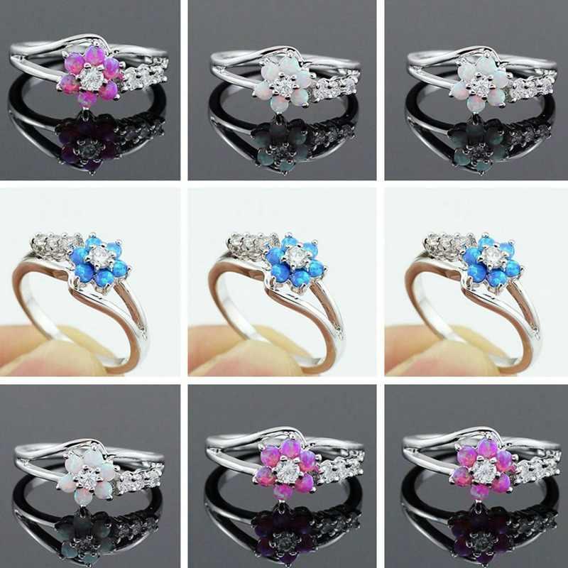 Anillos de ópalo de fuego con flores blancas/azules/rosas para mujer, anillos de compromiso de Zirconia cúbica de boda, anillos de bisutería Anel