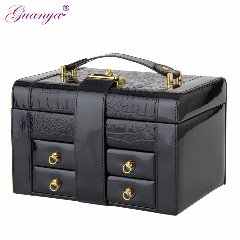 Guanya 5 color Newest Large Leather Makeup Case Travel portable Jewelry Storage Box Earring Ring Necklace Organizer Wedding Gift