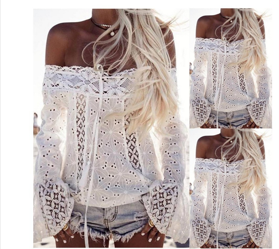 AIDAYOU Women Off Shoulder shirt Long Sleeve Lace Loose Blouse Tops SUMMER WOMEN FOR BEACH CLUB PARTY SEXY OUC2430