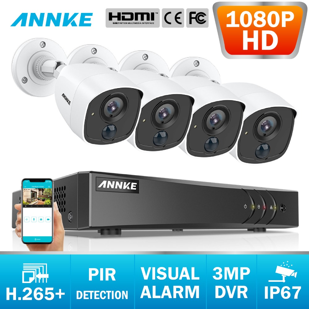 ANNKE 8CH 3MP 5in1 CCTV DVR HD 4PCS TVI Security Camera PIR Detection Outdoor Bullet Camera