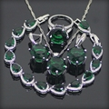 Granada verde Conjuntos de Jóias de Prata Esterlina 925 Para As Mulheres Brincos/Anéis/Pingente/Colar/Pulseiras Dom Gratuito caixa